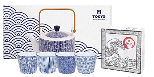 TOKYO design studio Nippon Blue Tee-Set blau-weiß, 5-TLG, 1x Tee-Kanne 0,8 l und 4X Tee-Tassen 180 ml, asiatisches Porzellan, Japanisches Design, inkl. Geschenk-Verpackung