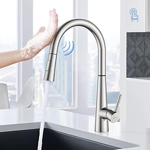 Synlyn Grifo de cocina con sensor táctil, grifo extensible de acero inoxidable, grifo de cocina giratorio 360°, grifo mezclador monomando para agua fría y caliente, con 2 modos de salida de agua