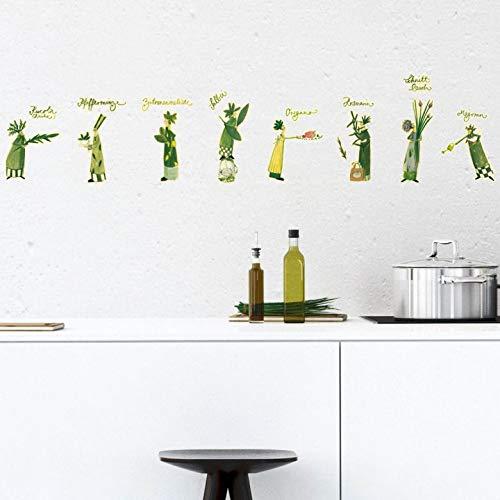 Wandtattoo Leffler - Kräuterfrauen 2 Wandsticker Wanddekoration Küche Kräuter Bezeichnung Feen Gewürze Kochen selbstklebend Grün Wall-Art - 50x36 cm