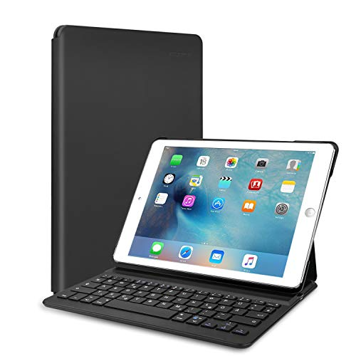 TECKNET Bluetooth Tastatur Ultrathin Magnetic Clip-On iPad Air2 Bluetooth 3.0 Deutsche Tastatur Hülle Folio Keyboard Case für iPad Air 2 iPad Pro 9.7- Smart Case mit Auto Sleep/Wake