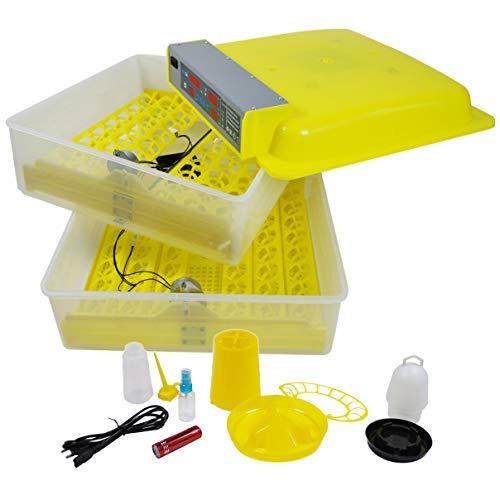Helo \'BM-96\' Brutmaschine für 96 Eier mit Wendefunktion und Lüfter, Profi Inkubator mit präziser Temperaturregelung mit Hoch-und Niedrig Temperatur Alarm und Hygrometer mit Luftfeuchtigkeit Alarm