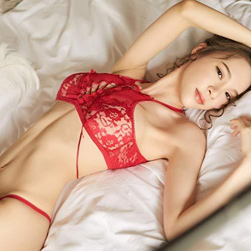 GHJX Conjuntos de lencería erótica para Mujer Lencería erótica Coreana juguetona pequeña Perspectiva Sexy Traje de Malla Dividida Seduction-Red_L