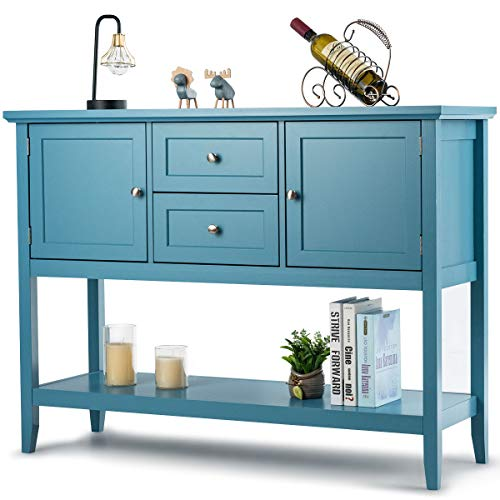 Giantex Buffet Sideboard, Wood Storage Cabinet, Console Table with Storage Shelf, 2 Drawers and Cabinets, Living Room Kitchen Dining Room Furniture, Wood Buffet Server (Aqua)
