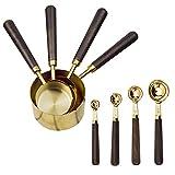 Juego de 8 tazas y cucharas medidoras para hornear y cocinar de acero inoxidable chapado en cobre con mango de acero inoxidable