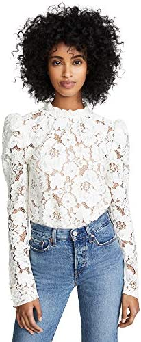 WAYF Women s Emma Puff Sleeve Lace Top Ivory Lace Off White Large product image