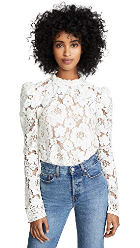 WAYF Women's Emma Puff Sleeve Lace Top, Ivory Lace, Off White, Small