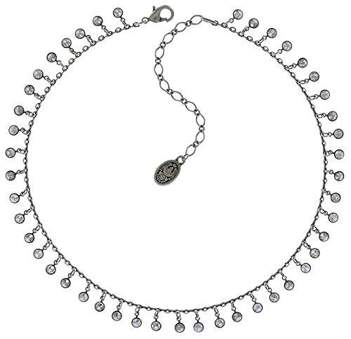 Konplott Waterfalls Kette für Damen | Exklusives Designer-Collier mit 46 Swarovski Steinen | Lange Halskette | Ketten-Größe verstellbar | Handgefertigter & limitierter Damen-Schmuck | Weiß