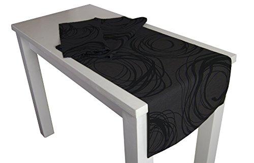 beties Mystik Chemin de table XL env. 40 x 220 cm Motif abstrait à spirales en noir sur fond foncé 100 % coton Couleur ardoise/noir