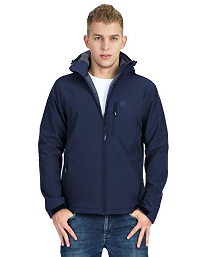 Mens Softshell Fleece Lined Tactical Waterproof Blue Hooded Jacket for Hiking