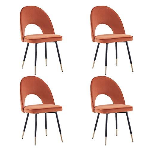 JYMTOM Esszimmerstühle aus Samt, Orange, 2 Stück, 4 Lounge-Stühle mit Metallbeinen, Rückenlehne, Lounge-Stuhl, 4 Stück, Orange