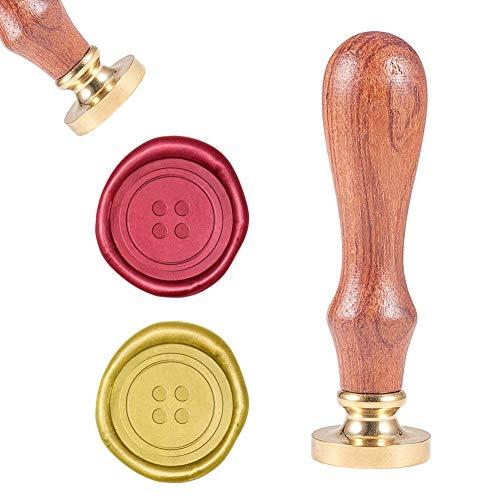 CRASPIRE 封印 スタンプ ボタン, シーリングワックススタンプ レトロな木製スタンプ 封印 25mm 取り外し可能な ブラスヘッド 木製ハンドル 封筒招待状結婚式の装飾ボトル装飾ギフトカード