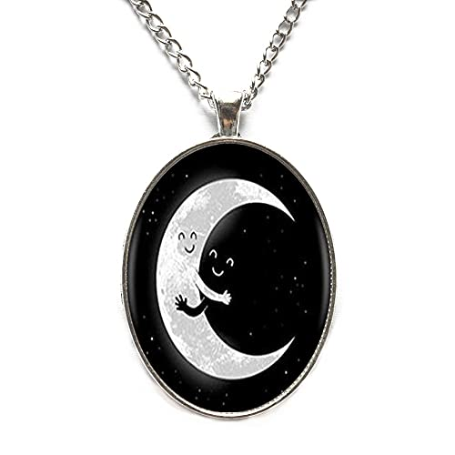 Collar de luna, collar de luna delicada, collar de luna delicada, collar simple de luna, collar de cristal de animal de la luna, N144