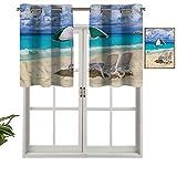 Hiiiman Panel de cortina de bloqueo UV con cenefa exótica del Caribbean Coastline, juego de 1, 91,4 x 45,7 cm para habitación de niños