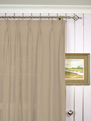 """CASA COUTURE Triple Pinch Pleated Drapes Curtains Blackout Beige Polyester Blinds Thermal Insulated Heat & Cold Blocking Panels Window Draperies for Living Room 1 Panel - 52""""x63"""""""
