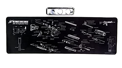 Large Gun Cleaning Mat with Exploded Parts Diagram & BONUS Magnetic Parts Tray; non-slip & solvent resistant pad; stitched edges - 36x12' - by Ultimate Rifle Build