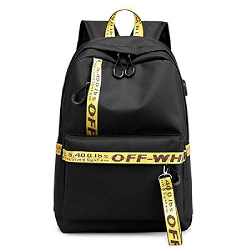 Ladies Backpack Capacity Letter Paneling Student USB Charging Backpack Laptop Backpack