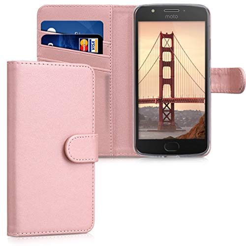 kwmobile Hülle kompatibel mit Motorola Moto E4 - Kunstleder Wallet Hülle mit Kartenfächern Stand in Rosegold