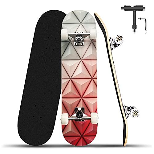 Completo para niños Skateboard, 31 x 8 pulgadas doble patada madera cubierta 9 capas arce truco Cruiser Skateboards, para principiantes, adolescentes niños y niñas adultos (geometría roja)