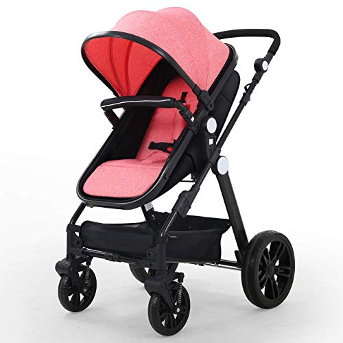 Baby Stroller Newborn Carriage Infant Reversible Bassinet to Luxury Toddler Vista Seat for Boy Girl Compact Single All Terrain Babies Pram Strollers Add Stroller Cover, Cup Holder, Net…