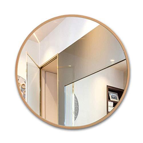 Household nodig/badkamerspiegel van hout voor de muur van de woonkamer voor het ophangen van make-upspiegel voor de slaapkamer, rond, spiegel.