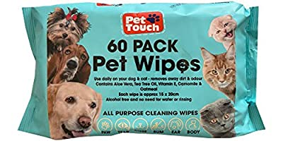 Pet Wipes All Purpose Pet Wipes for Dogs & Cats Alcohol Free Cleaning Wipes For Dogs & Cats (60 wipes One Pack)