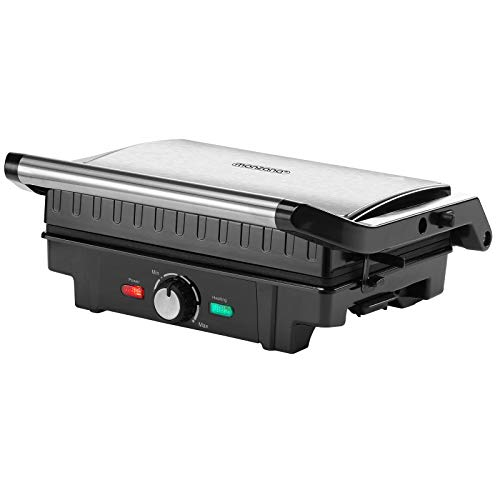 Kontaktgrill XL 180 Grad klappbar Tischgrill Antihaftbeschichtung Sandwich Maker Edelstahl Temperaturkontrolle 1600 W