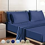 """Leafbay Queen Bed Sheets Set - 4 Piece Super Soft Microfiber Bed Sheets 1800 TC with 16"""" Deep Pocket, Wrinkle Resistant and Unfading Bedding Set - Navy Blue"""