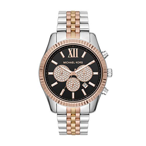 Michael Kors Men's Lexington Quartz Watch with Stainless Steel Strap, Multi, 22 (Model: MK8714)