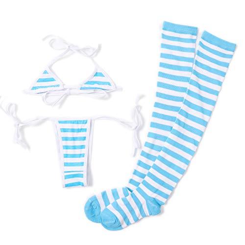 Lingerie for Women Sexy Lingerie Set with Blue White Striped Thigh High Socks Japanese Anime Cosplay Bikini Kawaii Bra Panty Set Girls String Panties