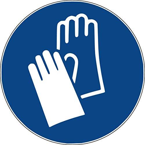 10 Aufkleber Handschutz benutzen - Handschuhe anziehen Aufkleber (10 Stück) vorgestanzt selbstklebend Handschuhe tragen Handschutz benutzen Gebotszeichen Warnzeichen Handschuhe anziehen M009