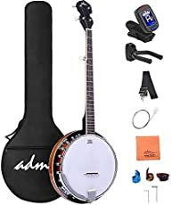 ADM 5-String Banjo 24 Bracket with Closed Solid Wood Back and Geared 5th Tuner, Banjoe Beginner Kit with Gift Package 1