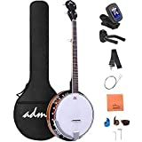 ADM 5-String Banjo Large 24 Bracket with Closed Solid Wood Back and Geared 5th Tuner, Gift Package Banjoe Beginner Kit with Pad Bag, Tuner, Strap, Extra Strings, Picks, Allen Key etc, Large Size