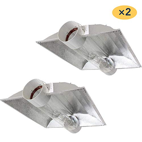 iPower GLCLTB8XXLX2 2er Pack 20,3 cm Cool Tube Reflektor Haube für HPS MH Grow Light XXL Wing, silber