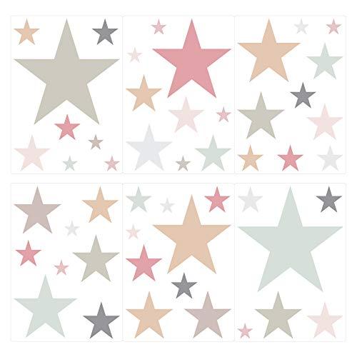 Sticker Mural étoiles dans Moderne Combinaisons de Couleurs Pastel Ciel étoilé