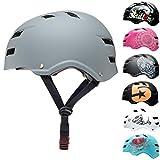 SkullCap® Casco de Skate y BMX - Bicicleta Y Scooter Eléctrico, Diseño: Just Gray, Talla: M (55-58 cm)