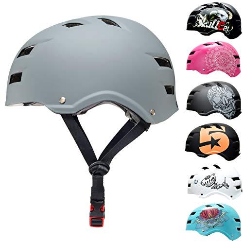 SkullCap BMX & Casco per Skater Casco - Bicicletta & Monopattino Elettrico, Design: Just Gray, Taglia: L (58-61 cm)