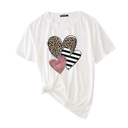 jieGorge Blusa para Mujer,Mujeres O-Cuello Pullover Love Leopard Print Camiseta de Manga Corta Tops, Ropa para...