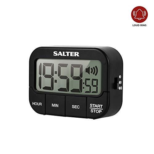SALTER extra grote keukentimer van kunststof, keukenklok, vooruit tellen en countdown functie, groot lcd-display, 3 instelbare tonen/volume, timer