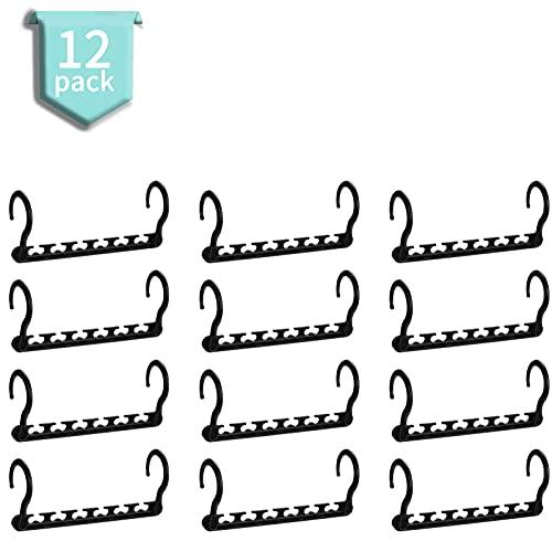 HOUSE DAY 12 Stück Kleiderbügel Kunststoff Schrank Organizer Kleiderschrank Platzsparend Mehrfach rutschfest Antirutsch Stabil Schwarz Clothes Hanger für Garderobe 27cm (L)