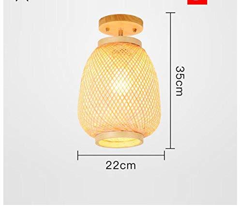 Plafondlamp, plafondlamp, plafondlamp, bamboe, natuur, rotan, rieten wilg, Japanse plafondlamp, rustieke plafondlamp, voor hal, balkon, E27, lampen