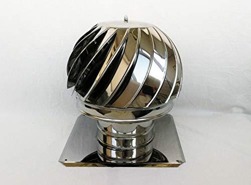 Schornsteinaufsatz drehbar Kaminaufsatz Schornstein Kugel Windrad Kaminhaube (200mm 42cmx42cm)
