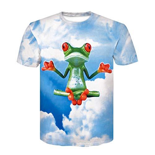 YYQX container mode korte mouwen thee ronde hals top hemd Flying kikker kruis T-shirt heren 3D T-shirt korte mouwen ronde hals digitale print casual korte mouwen