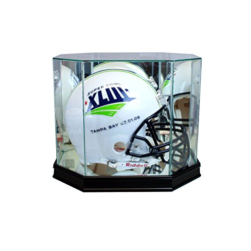 Perfect Cases Octagon Football Helmet Display Case with Sport Moulding (Black with 99% UV Glass)