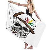 Bath Towels,Baseball Skull Smoking Weed Wearing Hat Rastaman Cannabis Addict,Super Soft,High Absorbent,Large Towel Blanket for Bathroom,Beach or Swimming Pool,52' x 32'