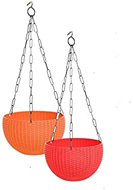 """Antier 6"""" Woven Design Hanging Euro Basket Planters Indoor Outdoor Hanging Flower Plant Pot with Hanging Chain (Pack of 2"""