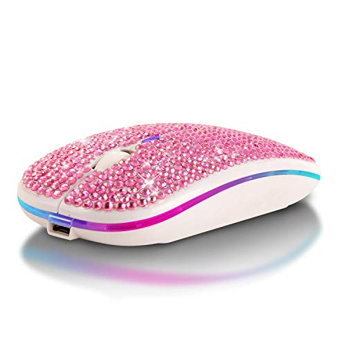 Ratón sin Sonido, Ratones ópticos de 2,4 GHz con conexión inalámbrica Bluetooth de Modo Dual RGB Colorido Luminoso para computadora / Win / Mac / Linux / Andriod / iOS (Pink)