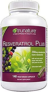 TruNature Resveratrol Plus - 250 mg of Resveratrol Plus 50 mg each of Red Wine Extract, Grape Seed Extract and Green Tea E...