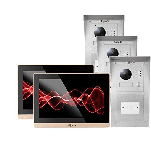 GOLIATH IP Videosprechanlage 3 Familienhaus, Aufputz RFID Türstation, Edelstahl, HD Kamera, App, Türöffner-Funktion, Schlüsselloser Zugang, Video-Speicher, Set, AV-VTC173