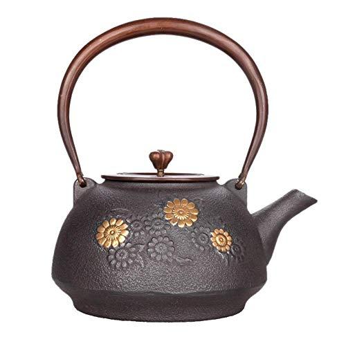 Tetera infusora de cerámica de hierro fundido tetsubina tetera con pared interior antioxidante y tapa de cobre, caja de regalo hecha a mano, taza dongdong de 1200 ml y platillo TNSYGSB