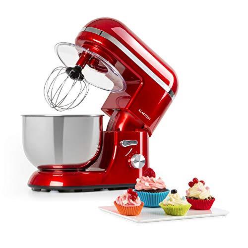 Klarstein Bella Elegance robot de cocina - 1300W/1,7PS en 6 niveles con función pulso, sistema de rotación planetario, cuenco de acero inoxidable de 5 l, 3 piezas de tono cobrizo, rojo